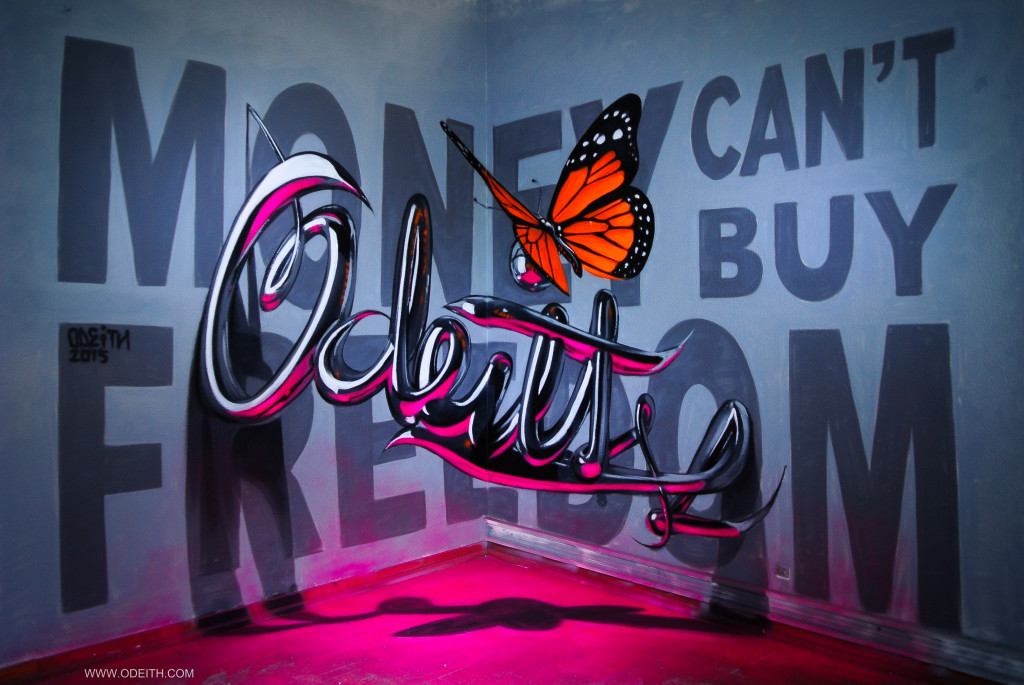 anamorphic-chrome-letters-odeith-MONEY-CANT-BUY-FREEDOM-2015